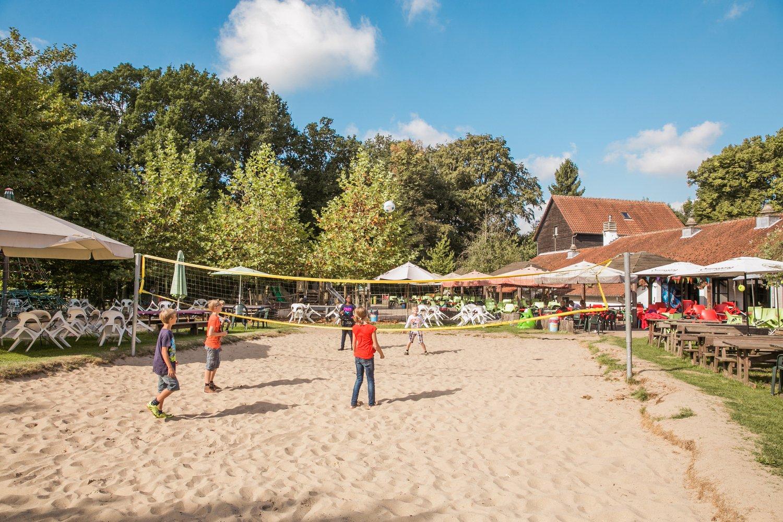 Kinderen spelen volleybal in de tuin van hostel Boswachtershuis